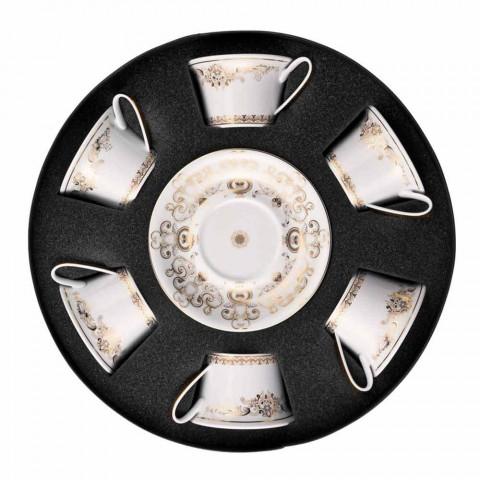 Rosenthal Versace Medusa Gala Gold set tazze in porcellana da tè 6 pzz