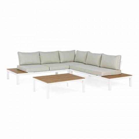 Salotto da Esterno con Divano Angolare e Tavolino in Alluminio e Tessuto - Verve
