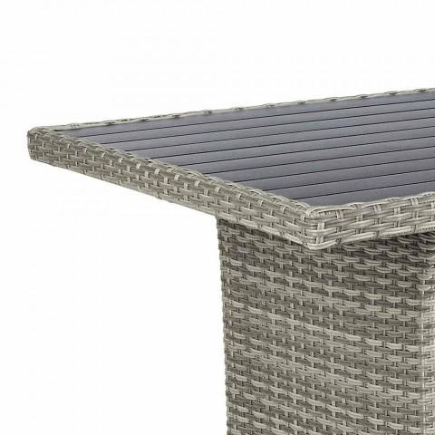 Salotto da Esterno in Alluminio e Fibra Sintetica con Cuscini in Tessuto - David