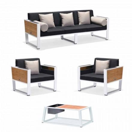 Salotto Esterno Divano 3 Posti, 2 Poltrone e Tavolino Alluminio e Teak - Hatice