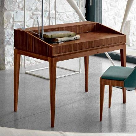 Scrittoio di design moderno in legno noce, L 105 x P 65 cm,Acario