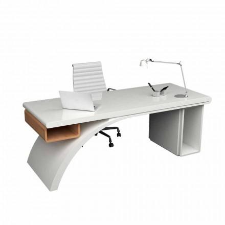 Scrivania da ufficio in legno e Solid Surface Bridge, made in Italy