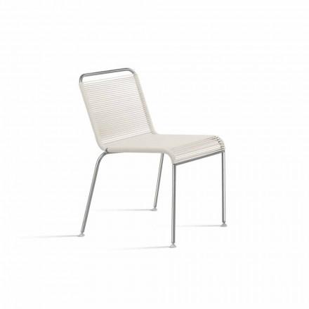 Sedia Bianca di Design da Esterno in Acciaio e PVC Made in Italy - Madagascar