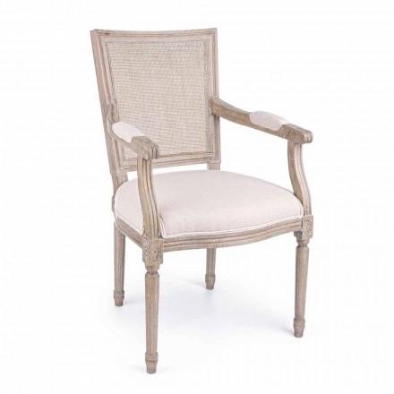 Sedia Classica con Braccioli in Legno di Frassino e Tessuto Homemotion - Meringa