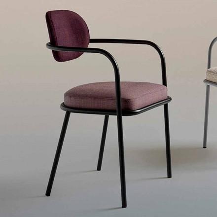 Sedia con Braccioli Design Vintage in Acciaio e Tessuto Colorato - Ula