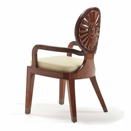 Sedia con braccioli imbottita in legno liscio Nicole, design di lusso