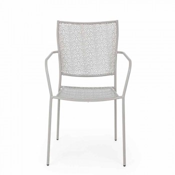Sedia con Braccioli in Acciaio Decorato Impilabile da Giardino - Scivolizia