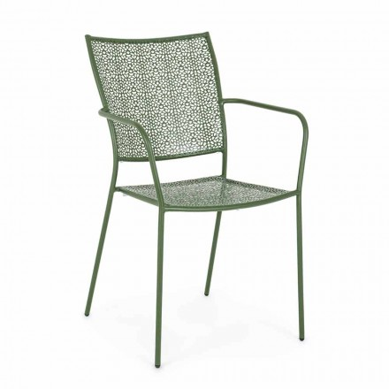 Sedia con Braccioli da Giardino Impilabile in Acciaio Decorato - Scivolizia