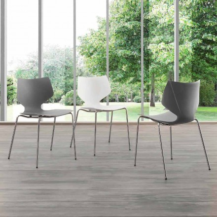 Sedia con base cromata di design moderno Messina