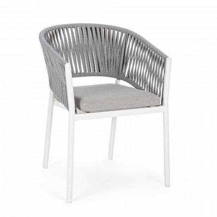 Sedia da Esterno con Braccioli in Alluminio Bianca e Grigia Homemotion - Rubio
