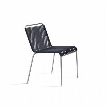 Sedia da Esterno di Design in Acciaio e Cordino Nero Made in Italy - Madagascar1