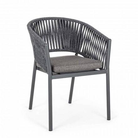 Sedia da Esterno Impilabile con Seduta in Tessuto, Homemotion 4 Pezzi - Aleandro
