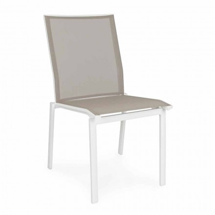 Sedia da Esterno Impilabile in Alluminio e Textilene, Homemotion 4 Pezzi - Serge