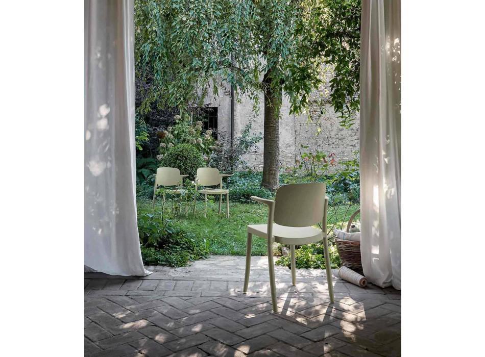 Sedia da Esterno Impilabile in Polipropilene Made in Italy, 4 Pezzi - Bertina