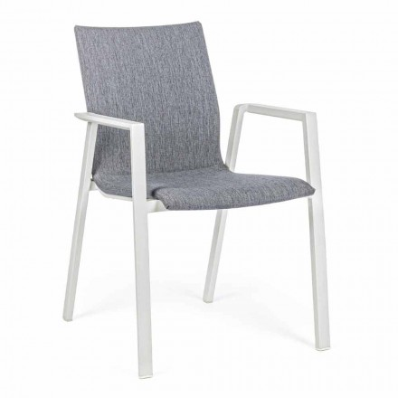 Sedia da Esterno Impilabile in Tessuto e Alluminio, 4 Pezzi - Kyo