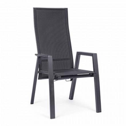 Sedia da Esterno Reclinabile in Textilene e Alluminio, 4 Pezzi - Lucia