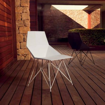 Sedia da giardino di design Vondom Faz in polipropilene e acciaio inox, 4 pezzi