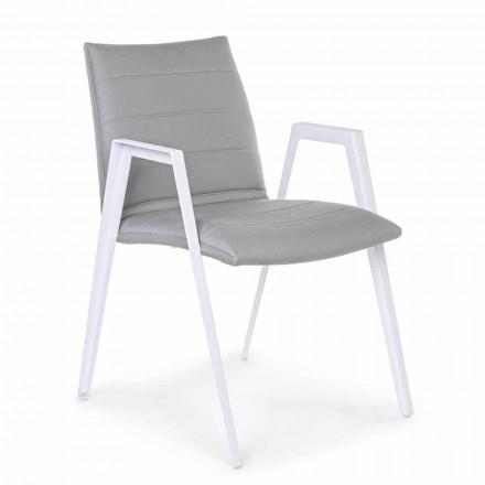 Sedia da Giardino Moderna con Braccioli in Alluminio Bianco Homemotion - Liliana