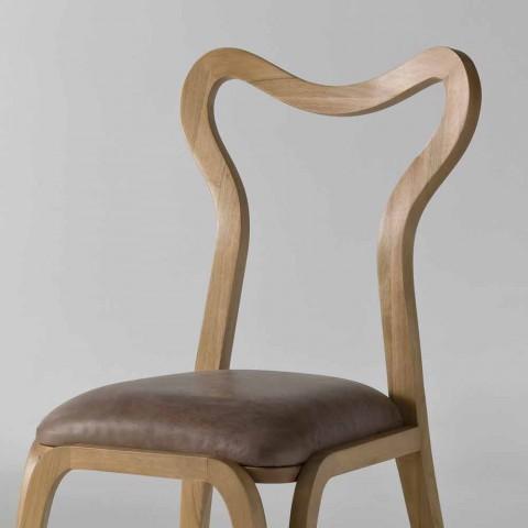 Sedie Design Legno E Pelle.Sedia Da Pranzo Design Moderno In Legno E Pelle L 41xp 46 Cm Carol