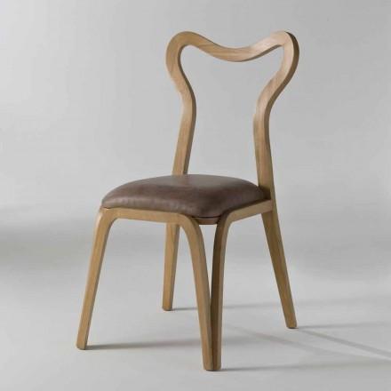 Sedia da pranzo design moderno in legno e pelle, l.41xp.46 cm,Carol