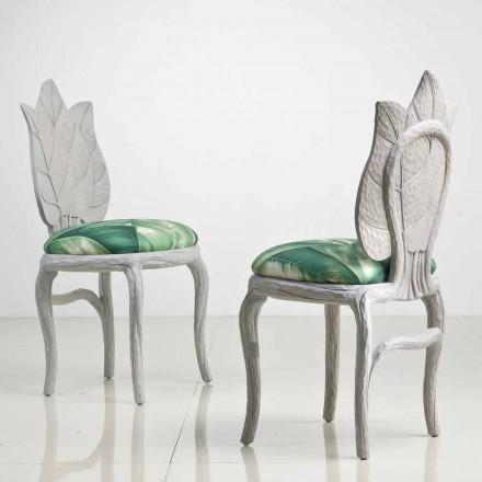 Sedia da pranzo imbottita di design moderno, made in Italy,Daniel