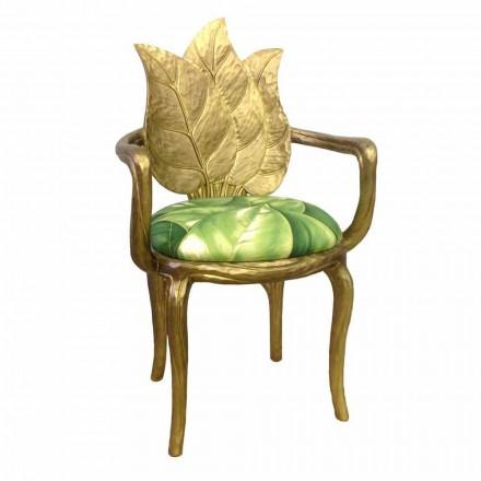 Sedia da pranzo imbottita oro di design moderno, made in Italy,Daniel