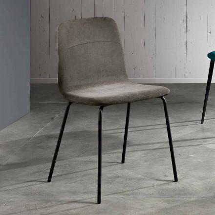 Sedia da soggiorno moderna in tessuto e metallo fatta in Italia,Egizia