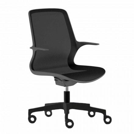 Sedia da Ufficio con Ruote Girevole in Rete Nera e Nylon Nero – Ayumu