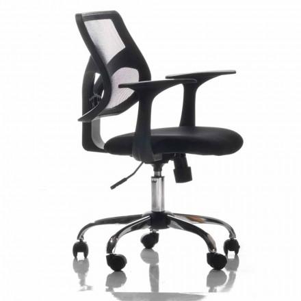 Sedia da Ufficio con Ruote Girevole in Tecnorete Nera e Tessuto – Giovanna