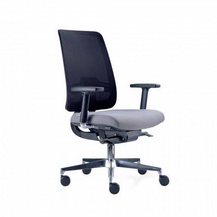 Sedia da Ufficio con Ruote Girevole in Tecnorete Nera e Tessuto – Menaleo