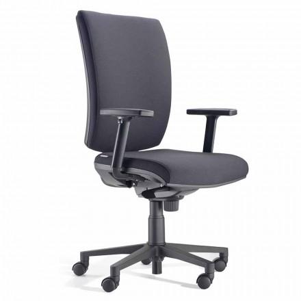 Sedia da Ufficio Ergonomica Girevole con Braccioli in Tessuto Nero – Macrino