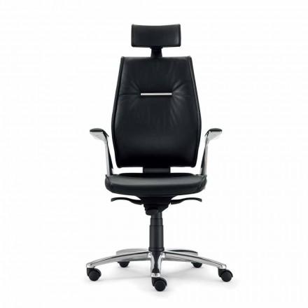 Sedia da ufficio ergonomica in pelle di bovino tipo fiore Ines