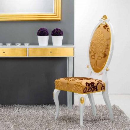 Sedia dal design classico in legno con decori foglia oro Tristan