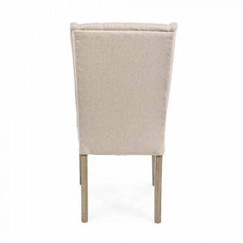 Sedia Design Classico in Tessuto e Legno di Quercia 2 Pezzi Homemotion - Forla