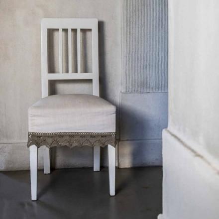 Sedia da cucina di design in legno di faggio laccato bianco, Shirley, 2 pezzi