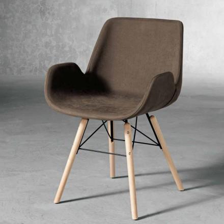 Sedia moderna in tessuto e legno prodotta in italia ornica for Sedia di design