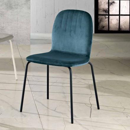 Sedia di design in velluto e gambe a tubo made in Italy, Carola