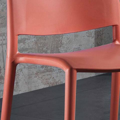 Sedia di Design Moderno Impilabile in Polipropilene Colorato 4 Pezzi - Rapunzel