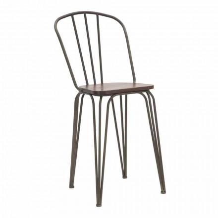 Sedia di Design Moderno in Stile Industrial in Ferro e Legno, 2 Pezzi - Erika