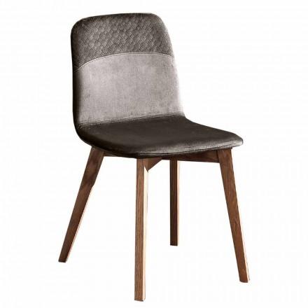 Sedia Elegante di Design Moderno in Velluto Colorato e Legno 4 Pezzi - Bizet