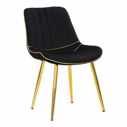 Sedia Imbottita per Sala da Pranzo di Design in Legno e Tessuto, 2 Pezzi - Kolly