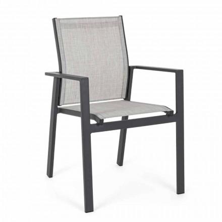 Sedia Impilabile da Esterno con Seduta in Textilene, 6 Pezzi - Daytona