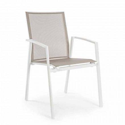 Sedia Impilabile da Esterno Alluminio Verniciato, Homemotion, 4 pezzi - Odelia