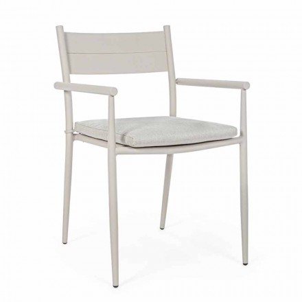 Sedia Impilabile da Esterno in Tessuto e Alluminio, Homemotion, 4 Pezzi - Imani