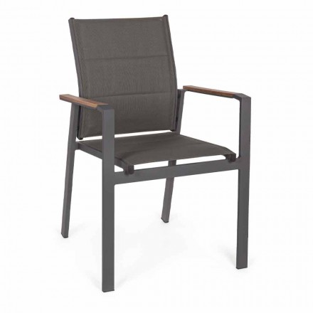 Sedia Impilabile da Esterno in Textilene e Alluminio Antracite, 6 Pezzi - Urban