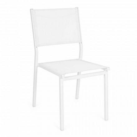 Sedia Impilabile in Alluminio e Textilene da Giardino, Design Moderno - Franz