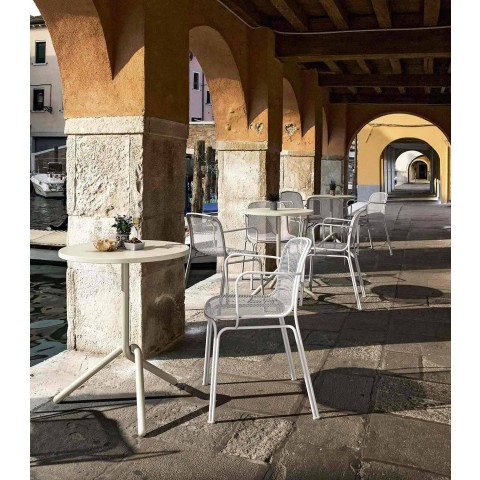 Sedia Impilabile in Metallo da Esterno Made in Italy, 4 Pezzi - Verna