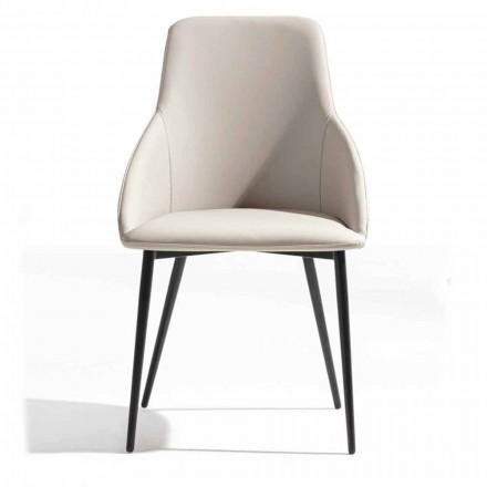 Sedia in Ecopelle con Schienale Decorato e Base in Metallo Nero, 2 Pezzi - Nima