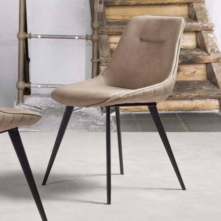 Sedia in Ecopelle Effetto Nabuk, Struttura in Metallo - Ermes