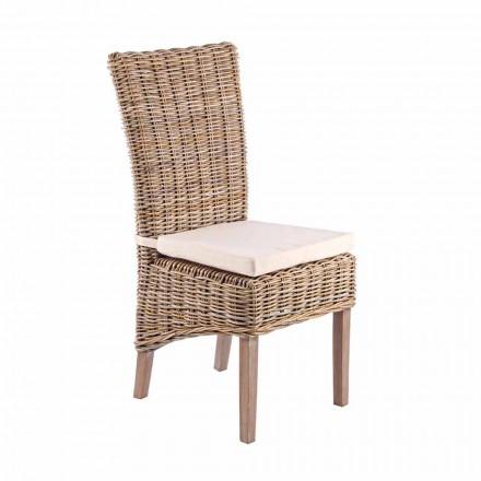 Sedia in Legno da Giardino con Cuscino di Design per Esterno - Taffi